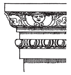 Pompeiian molding wood designs vintage engraving vector