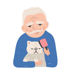 portrait of elderly man holding his cat or kitten vector image