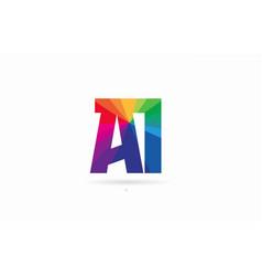 Rainbow colored alphabet combination letter ai a vector