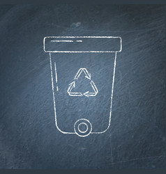 recycle bin icon chalkboard sketch vector image