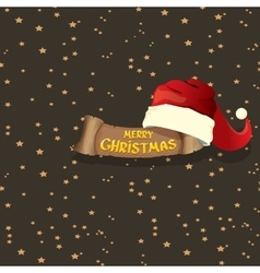 red Santa hat greeting text Merry Christmas vector image