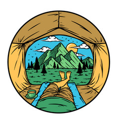 See mountain from inside tent vector