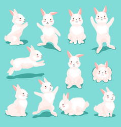 set cute easter bunnies vector image