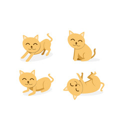 set of cat isolated on white background art vector image