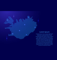 silhouette of iceland country from wavy blue vector image