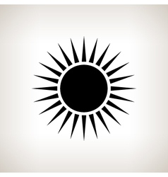 Silhouette sun with rays on a light background vector image