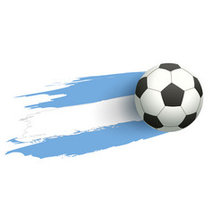 Soccer ball fly background flag of argentina vector