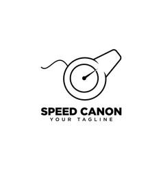 Speed canon logo design template vector