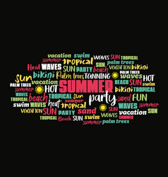 summer related concept cloud word tag vector image