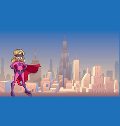 super girl city background vector image