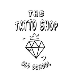 the tattoo shop diamond crown background im vector image