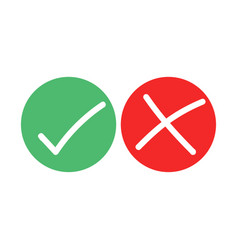Tick and cross brush signs green checkmark ok vector