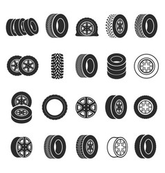tires and wheels icon set vector image