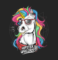 Unicorn hipster use glasses rainbow hair vector