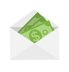 US Dollar Stack Paper Banknotes in Envelope Icon vector image