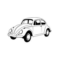 vintage car line art outline car vector image