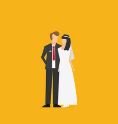 wedding couple flat isolated on color background vector image