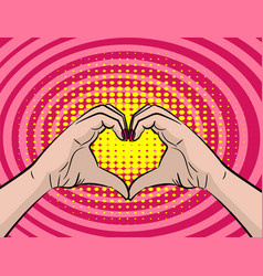 White young woman handd show heart sign vector