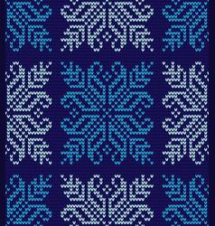 winter flower knitting pattern vector image