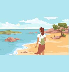 woman on beach looking on sea or ocean ship away vector image