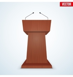 Wooden Podium Tribune with Microphones vector image