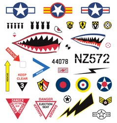 Fighter plane emblems and icons set vector image vector image