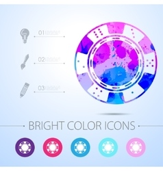 chip icon with infographic elements vector image