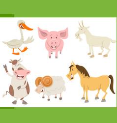 farm animal characters set vector image vector image