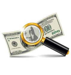 magnifier and money vector image vector image