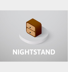 Nightstand isometric icon isolated on color vector