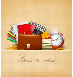 old background with school supplies vector image vector image