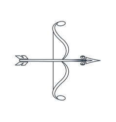 bow arrow ornate decorative element line vector image vector image