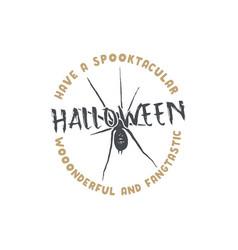 halloween badge vintage hand drawn logo design vector image vector image