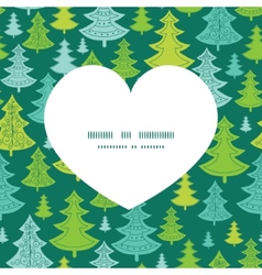 holiday christmas trees heart silhouette pattern vector image vector image