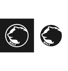 Silhouette of an wolf monochrome logo vector image vector image
