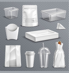 food packaging realistic transparent set vector image vector image