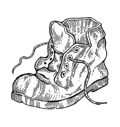 old shabby boot engraving style vector image vector image