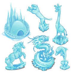 Set of ice figurines of wild and fantastic animals vector