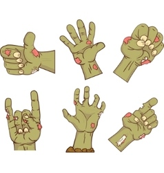 Set of iconszombie hands Collection of gestures vector image