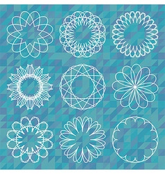 Spirograph round ornament set over polygonal vector image