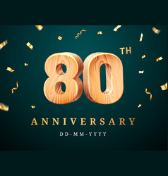 80th anniversary sign with falling confetti vector image