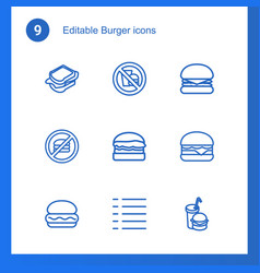 9 burger icons vector