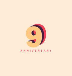 9 years anniversary template design vector