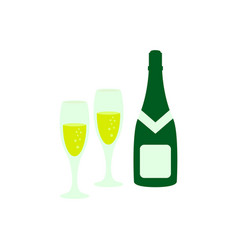 a glass and a bottle of champagne icon color vector image