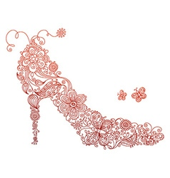 Abstract red shoe with flowers and butterflies vector
