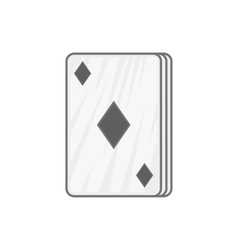 Ace of diamonds icon black monochrome style vector image