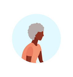 african american old woman profile avatar elderly vector image