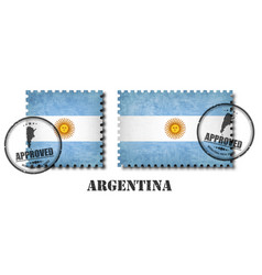 argentina or argentinian flag pattern postage vector image