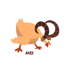 Aries zodiac sign funny chick character vector