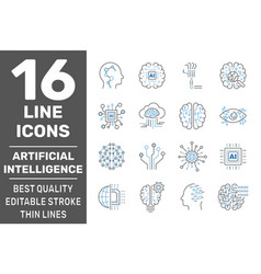 artificial intelligence icons set outline set of vector image